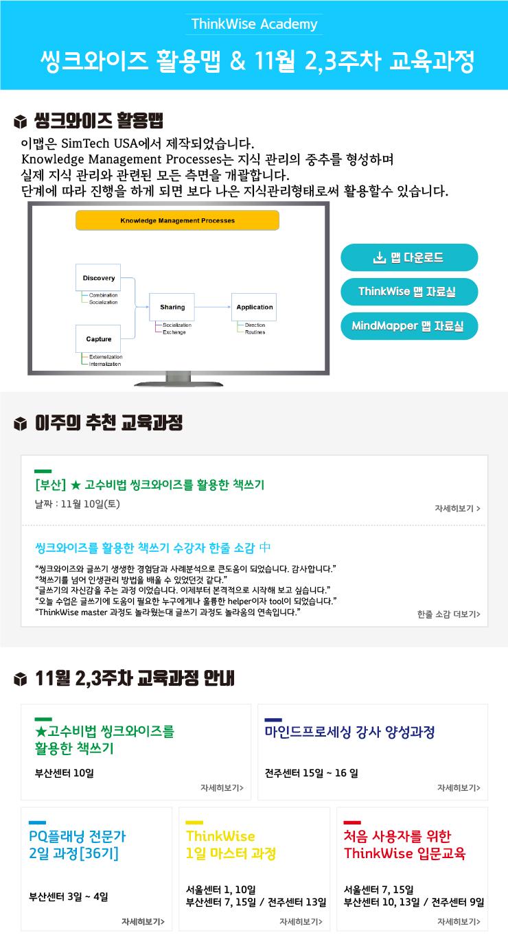 2018년 씽크와이즈 활용맵 & 11월 2,3주차 교육과정