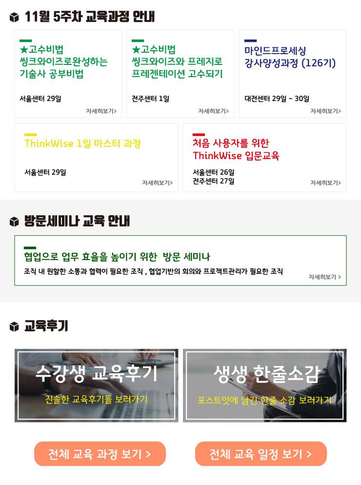 2018년 씽크와이즈 활용맵 & 11월 4주차 교육과정